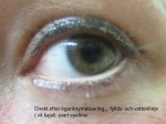 Direkt efter i fylland av Ögonbrynstatuering och vatten linje (vit kajal) svart eyeliner